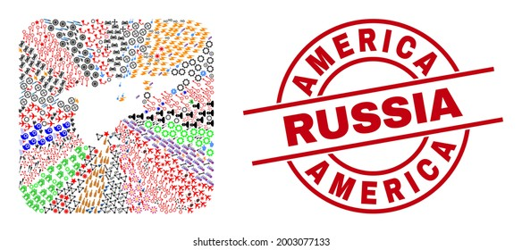 Vector mosaic North America and Greenland map of different symbols and America Russia badge. Mosaic North America and Greenland map designed as hole from rounded square.