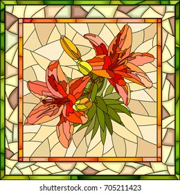 Vector mosaic of red lilies with buds on yellow in square stained-glass window frame.