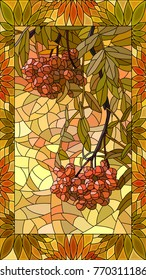 Vector mosaic with rowan branch with berries in vertical stained-glass window frame.