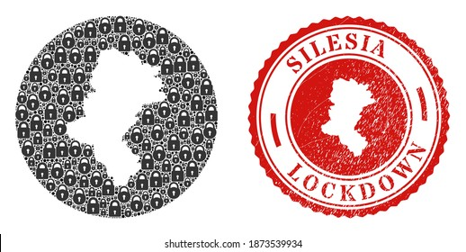 Vector mosaic Silesian Voivodeship map of locks and grunge LOCKDOWN stamp. Mosaic geographic Silesian Voivodeship map constructed as stencil from round shape with black locks.