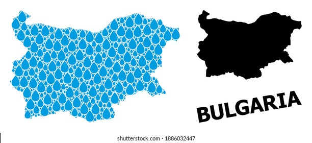 Vector mosaic and solid map of Bulgaria. Map of Bulgaria vector mosaic for pure water ads. Map of Bulgaria is composed from blue drinking aqua drops. Symbol of pure drinking water.