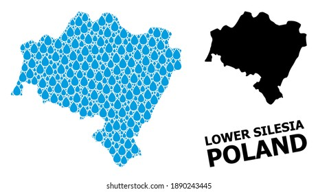 Vector mosaic and solid map of Lower Silesia Province. Map of Lower Silesia Province vector mosaic for clean water ads. Map of Lower Silesia Province is composed with blue clean water tears.