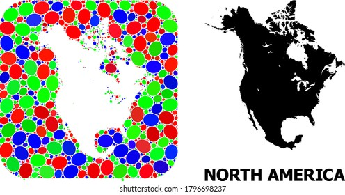 Vector mosaic and solid map of North America. Bright geographic map constructed as carved shape from rounded square with bright elliptic elements.