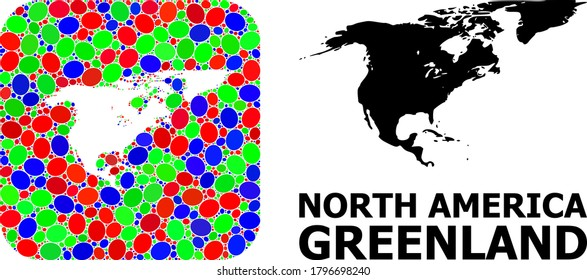 Vector mosaic and solid map of North America and Greenland. Bright geographic map designed as carved shape from rounded square with bright ovals.