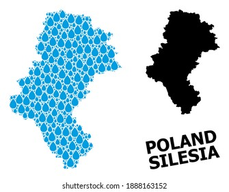 Vector mosaic and solid map of Silesia Province. Map of Silesia Province vector mosaic for drinking water ads. Map of Silesia Province is formed with blue pure liquid drops.