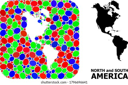 Vector mosaic and solid map of South and North America. Bright geographic map created as carved shape from rounded square with bright elliptic elements.