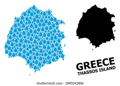 Vector mosaic and solid map of Thassos Island. Map of Thassos Island vector mosaic for clean water ads. Map of Thassos Island is composed with blue clean water dews. Symbol for natural drinking water.