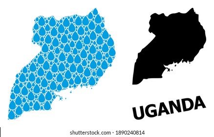 Vector mosaic and solid map of Uganda. Map of Uganda vector mosaic for drinking water ads. Map of Uganda is designed with blue clear aqua raindrops. Symbol for clear drinking water.