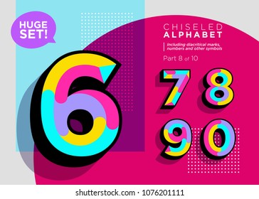 Vector Mosaic Typeset. Textured Geometric Type. Trendy Polygonal Typography for Music Poster, Sale Card, Fest Banner, Game Design. Retro Vibrant Alphabet. Colorful Hipster Background. Funky Font.