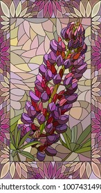 Vector mosaic with violet lupine in vertical stained-glass window frame.
