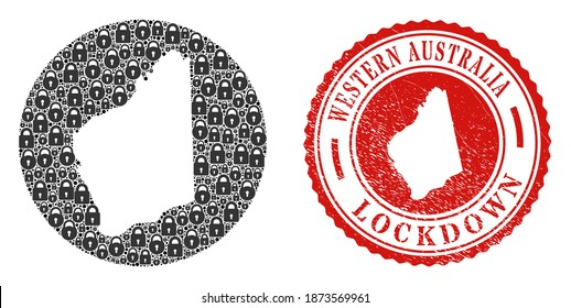 Vector mosaic Western Australia map of locks and grunge LOCKDOWN stamp. Mosaic geographic Western Australia map designed as carved shape from round shape with black locks.