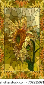 Vector mosaic with yellow sunflower in vertical stained-glass window frame.