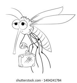 Vector mosquito - cartoon isolated illustration
