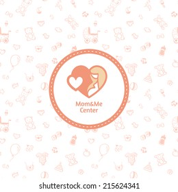 Vector mother center logo with seamless baby pattern