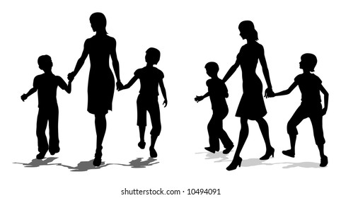 vector mother with children silhouette