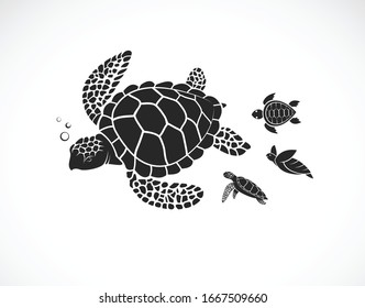 Vector of mother turtle and baby turtle on a white background. Reptile. Animals. Turtles logos or icons. Easy editable layered vector illustration. Family of sea turtles.