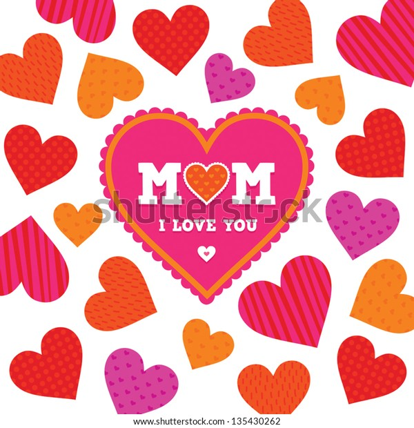 Vector Mother's Day card template with bright patterned hearts on a white background. Also good for Birthday, social media, web banner.