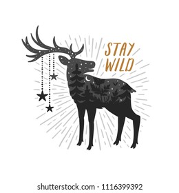 "Vector motivation card with deer silhouette, sunbursts and text ""Stay wild"". Stylish vintage background with inspirational words. Double exposure print."