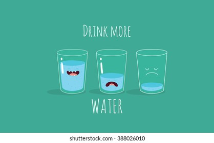 Vector motivation card with the inscription drink more water. Funny glass of water. Use for card, poster, banner, web design and print on t-shirt. Easy to edit. Vector illustration.