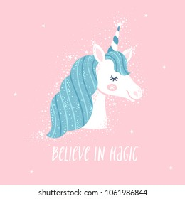 """Vector motivation card with unicorn head, stars, and text """"Believe in magic"""". Sweet fantasy background with inspirational words."""