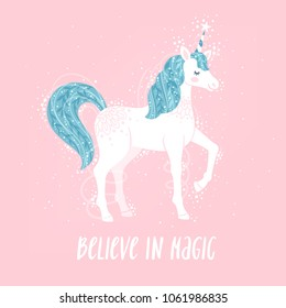 """Vector motivation card with unicorn, stars, and text """"Believe in magic"""". Sweet fantasy background with inspirational words."""