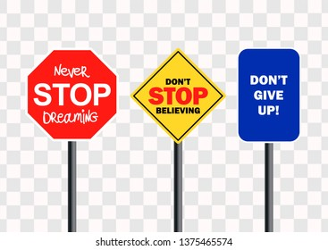 Vector motivation road signs