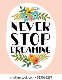 vector motivational card. beautiful lettering with decorative elements of flowers, fruits and plants. never stop dreaming