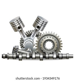 Vector Motor Parts Concept isolated on white background