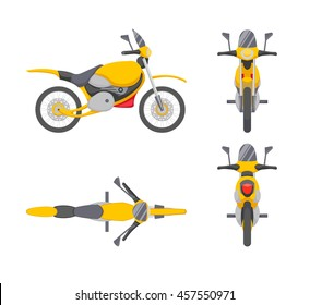 Vector motorbike illustration in different positions. Motorcycle, transport vehicle, top, side, front, rear view.