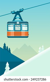 vector mountain  background with cable car
