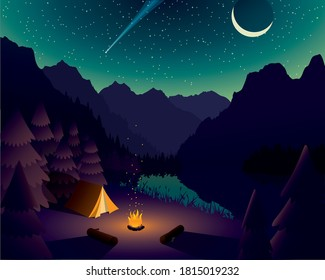 Vector Mountain Campsite Near Lake with Starry Night