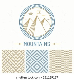 Vector mountain design kit - abstract round emblem and seamless patterns in line style