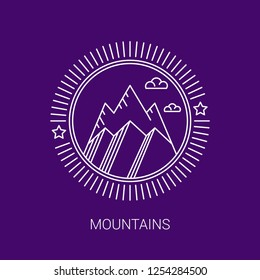 Vector mountain design. Vector line logos and icons. Line design elements for invitations and greeting cards. Emblems and badges. Abstract hipster logo templates.