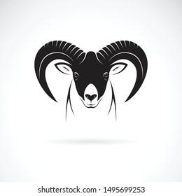Vector of mountain goat head design on white background. Wild Animals. Goats logo or icon.