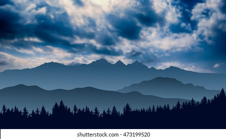 Vector mountain landscape with cloudy sky and silhouette of forest on the foreground