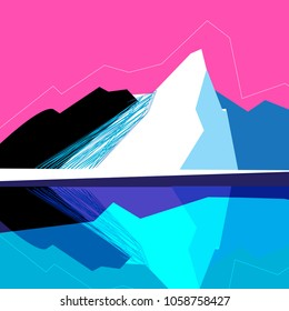 Vector mountain landscape on a pink background