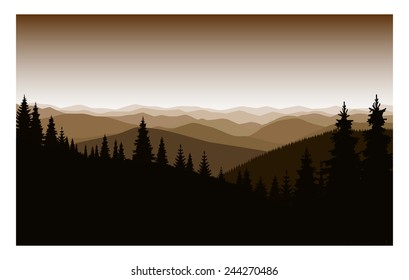 Vector mountain landscape. Sepia. Sunset.