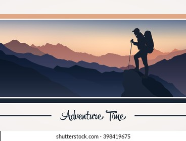 Vector mountain landscape with the silhouette of a climber
