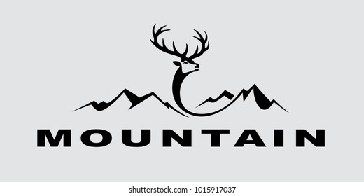 Vector mountain logo with deer illustration isolated on grey background