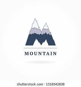 Vector mountain logo template. Letter M logotype for tourism, camping, travel agency, expedition, adventures, extreme, sports, alpinism, outdoors, wildlife, equipment market. Identity design