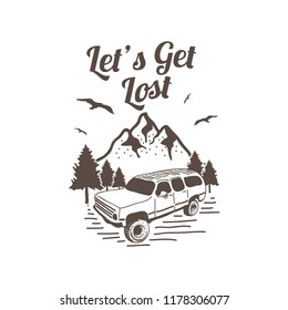 vector of mountain and outdoor adventures logo illustration