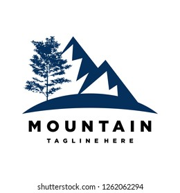 vector mountain and outdoor adventures logo. Tourism, hiking Mountains and travel icons