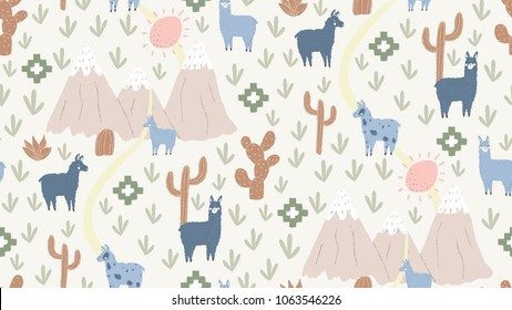 vector mountain path background, seamless llama pattern