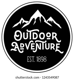 Vector Mountain Peak Distressed Outdoor Adventure Round Patch Company Logo in Black and White. Great for t-shirts, hats, apparel, logos, gifts, home decor, textiles, stationery, and paper crafting.