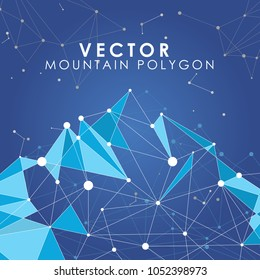 Vector Mountain Polygon line connected dot with blue background