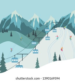 Vector mountain ski or snowboarding resort lift with blue gondolas to mountain peak. Outdoor travelling and alpine leisure activity background.