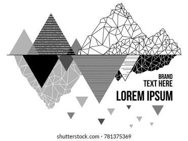 Vector mountain T-shirt design with triangle and line geometric style