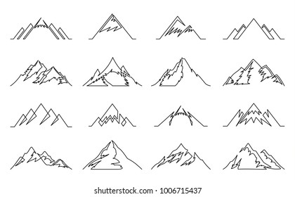 Vector mountains continuous line icons isolated on white