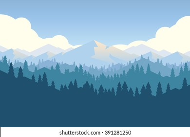Vector mountains and forest landscape early in a daylight. Beautiful geometric illustration.