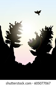 Vector mountains and forest landscape early on the sunset.